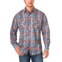 Wrangler Retro Mens Paisley Plaid Button Down Shirt