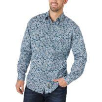 Wrangler Retro Premium Mens Teal Paisley Button Down Shirt