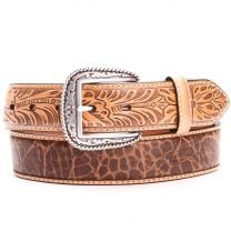 Ariat Mens Gator and Floral Leather Belts Tan