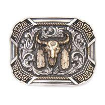 Montana Silversmiths Mens Buffalo Skull Attitude Buckle