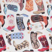 Western Colorful Cowboy Boot Print Silk Wild Rag
