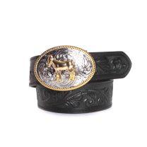 3D Children Unisex Horse Buckle Embossed Belt Black