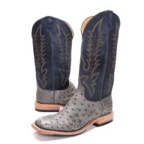 BootDaddy Anderson Bean Mens Gray Full Quill Ostrich Boots