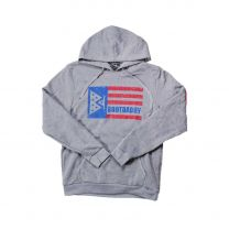 BootDaddy Red and Blue Logo Flag Hoodie Gray