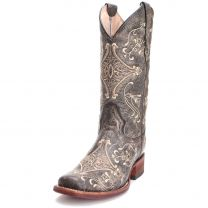 Circle G Womens Distressed Embroidered Square Toe Tan Cowgirl Boots