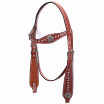 Circle Y Scalloped Browband Headstall with Sunburst Conchos