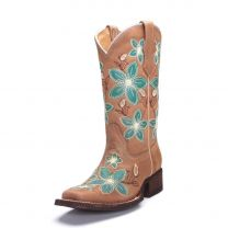 Corral Youth Teal Flower Cowboy Boots T0109