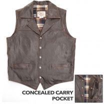 Cripple Creek Mens Concealed Carry Leather Vests Antique Chocolate