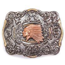 Crumrine Mens Western Indian Head Cowboy Buckle Silver
