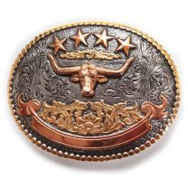 Crumrine Mens Western Oval Cow Skull Cowboy Buckle Silver