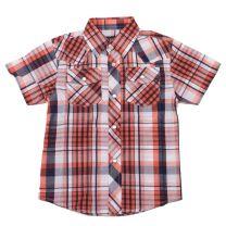Western Youth Boys Orange Plaid Snap Shirt
