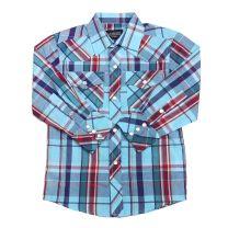 Children Boys Blue Red Plaid Long Sleeve Snap Shirt