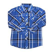 Western Children Boys Long Sleeve Blue Plaid Snap Shirt