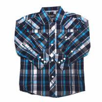 Western Children Boys Long Sleeve Plaid Snap Shirt Navy