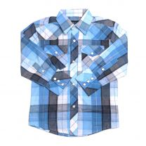 Children Boys Blue Plaid Long Sleeve Snap Shirt