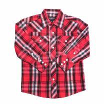 Western Children Boys Long Sleeve Red Plaid Snap Shirt