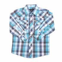 Children Boys Western Plaid Long Sleeve Snap Shirt