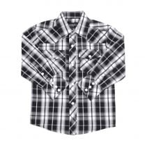 Western Children Black and White Long Sleeve Snap Shirt