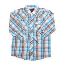 Children Boys Blue Tan Plaid Long Sleeve Snap Shirt