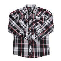 Western Boys Black Long Sleeve Plaid Shirt