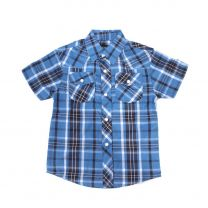 Children Boys Short Sleeve Blue Plaid Snap Shirt