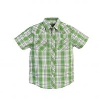 Youth Boys Western Green Plaid Snap Shirt