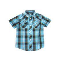 Children Boys Western Blue Plaid Snap Shirt