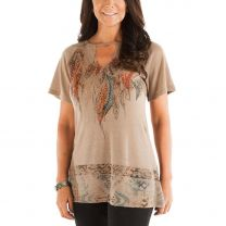 Liberty Wear Womens Feather Print Shirt