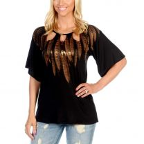 Liberty Wear Womens Gold Feather Cutout Top