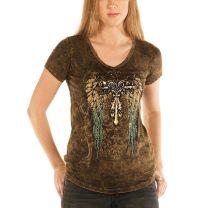 Liberty Wear Womens Crystal Wings Cross Shirt