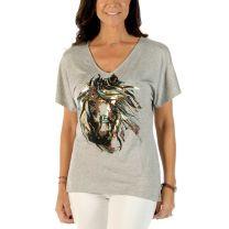 Liberty Wear Womens Golden Horse V Neck Shirt
