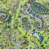 Western Lime Green Paisley Silk Wild Rag