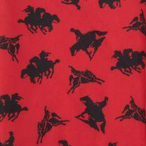 Western Red Bronc Ride Silk Wild Rag