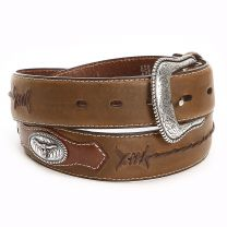 Nocona Brown Barbed Wire Lace Belts