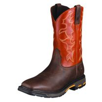 Ariat Mens WorkHog Wide Square Toe Brown Work Boots