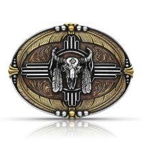 Montana Silversmiths Attitude Feather Buffalo Skull Buckle