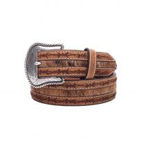 Nocona Mens Barbed Wire Embroidery Leather Belt
