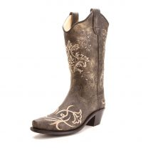 Old West Childrens Girl Embroidered Pointed Toe Cowboy Boots Brown