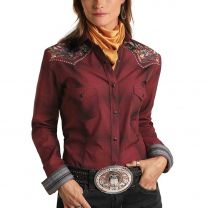 Panhandle Slim Womens Floral Embroidered Snap Shirt