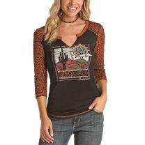 Panhandle Slim Womens Western Cheetah Sleeve Top