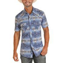 Rock and Roll Cowboy Mens Blue Aztec Snap Shirt