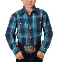 Roper Children Boys Blue Plaid Long Sleeve Snap Shirt