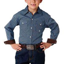 Roper Children Boys Brown Button Down Shirt