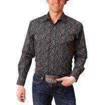Roper Mens Black Western Snap Shirt