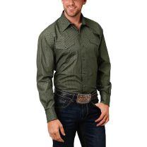 Roper Mens Olive Green Long Sleeve Snap Shirt