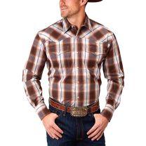 Roper Mens Long Sleeve Brown Plaid Snap Shirt