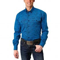 Roper Mens Royal Blue Paisley Button Down Shirt