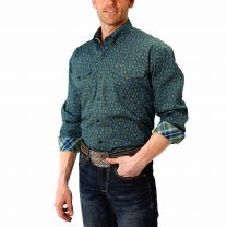 Roper Mens Green Paisley Button Down Shirt