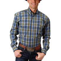 Roper Mens Blue Green Plaid Button Down Shirt