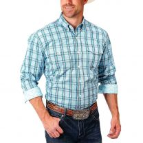 Roper Mens Teal and Red Plaid Button Down Shirt